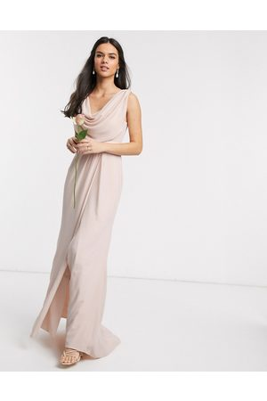 ASOS Bridesmaid cowl front maxi dress with button back detail