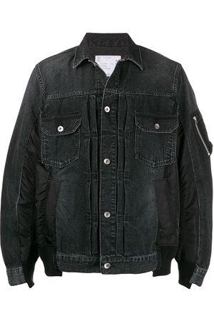 SACAI Men Denim Jackets - Patchwork denim jacket