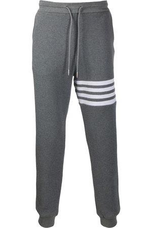 Thom Browne Men Sweatpants - 4-Bar waffle stitch track pants - Grey