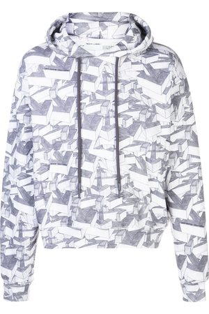 OFF-WHITE Arrows print cotton hoodie - Grey