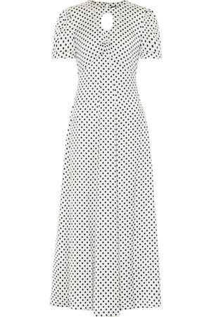 AlexaChung Maria polka-dot satin midi dress