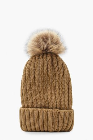 Boohoo Womens Rib Knit Beanie With Large Faux Fur Pom - - One Size