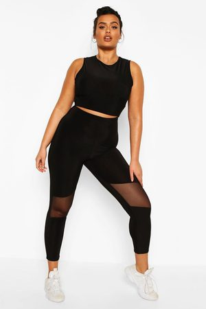 Boohoo Womens Plus Soft Touch Mesh Cut Out Gym Leggings - - 12