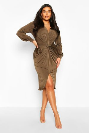 Boohoo Womens Plus Twist Front Plunge Midi Dress - - 12