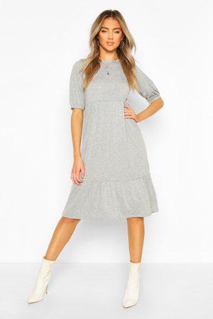 Boohoo Womens Elasticated Sleeve Drop Hem Midi Dress - - 4