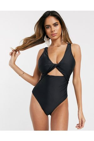 ASOS Recycled fuller bust supportive twist front cut out swimsuit in dd-g