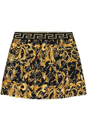 VERSACE Printed pleated silk skirt