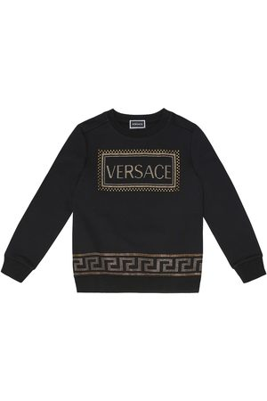 VERSACE Embellished cotton sweatshirt