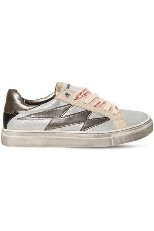 Zadig & Voltaire Girls Sneakers - Glittered Leather Lace-up Sneakers