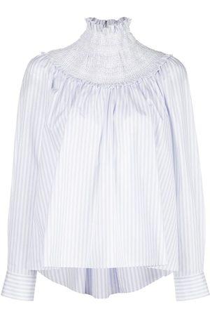 ADAM LIPPES Women Blouses - Smocked neck striped blouse