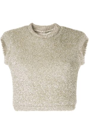 Bambah Metallic knitted crop top