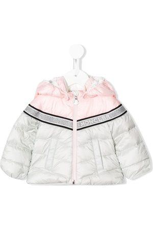 Moncler Puffer Jackets - Two-tone logo band puffer jacket - Grey