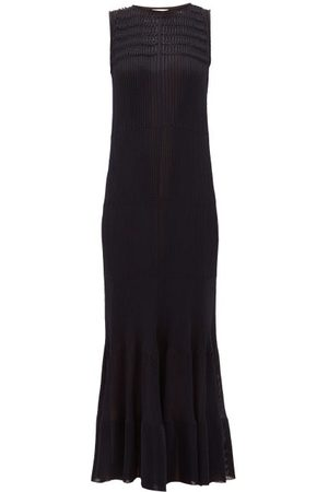 MAISON RABIH KAYROUZ Smocked Knitted Maxi Dress - Womens - Navy