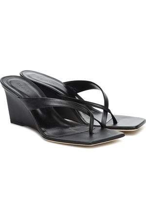 By Far Theresa leather wedge sandals