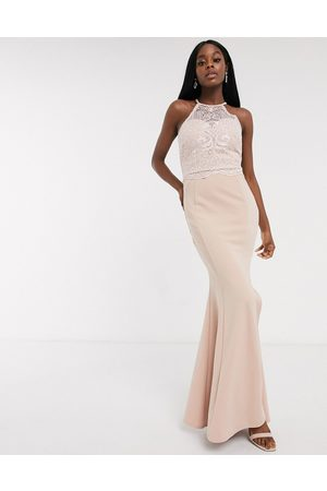 Lipsy London Halterneck lace applique top maxi in taupe