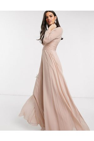 ASOS Bridesmaid ruched waist maxi dress with long sleeves and pleat skirt-Multi