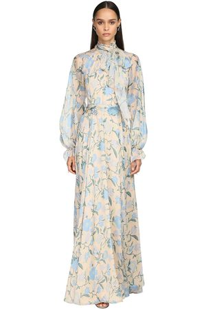 LUISA BECCARIA Printed Chiffon Long Dress W/ Bow Collar
