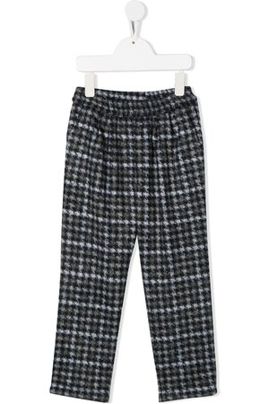 DOUUOD KIDS Houndstooth straight-leg trousers - Grey