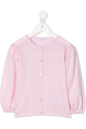 Dolce & Gabbana Girls Cardigans - Round neck puff-shoulder cardigan