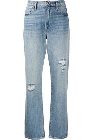 Frame Distressed straight-leg jeans