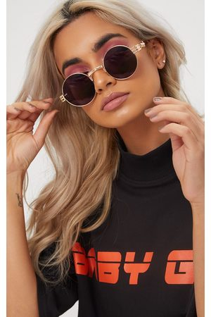 PRETTYLITTLETHING Rounded Metal Frame Retro Sunglasses