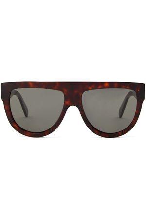 Celine Eyewear Flat-top Tortoiseshell-acetate Sunglasses - Womens - Tortoiseshell
