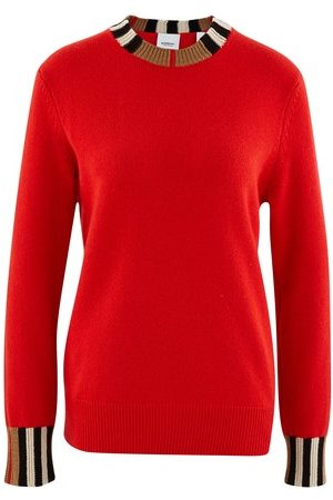 Burberry Women Sweaters - Icon Stripe Trim Cashmere Sweater