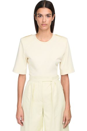 Max Mara Cotton Jersey T-shirt W/ Shoulder Pads
