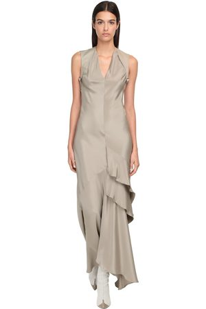 Max Mara Fluid Silk Long Dress W/ Ruffles