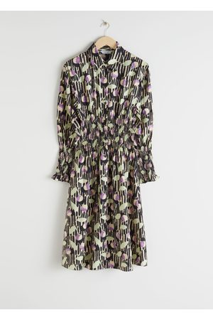 & OTHER STORIES Smocked Plaid Midi Shirt Dress