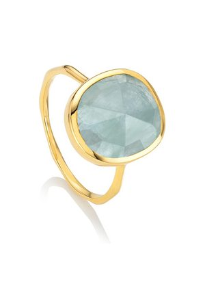Monica Vinader Siren Aquamarine Medium Stacking Ring, Gold Vermeil on Silver