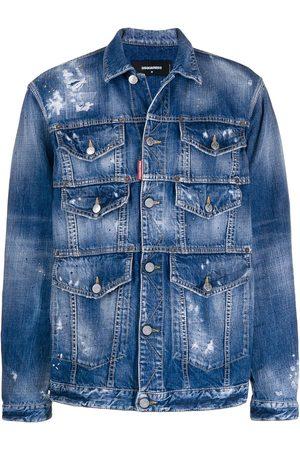 Dsquared2 Men Denim Jackets - Distressed-effect front pockets denim jacket