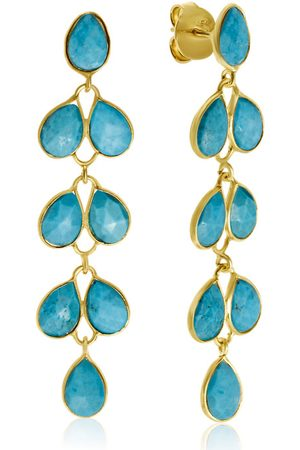 SuperJeweler 10 Carat Turquoise Feather Earrings in 14K by