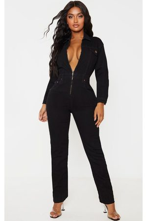PRETTYLITTLETHING Shape Denim Zip Front Jumpsuit