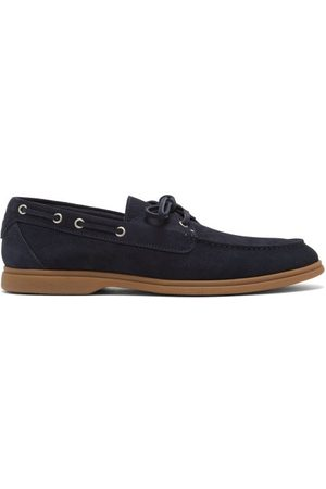 Brunello Cucinelli Suede Deck Shoes - Mens - Navy