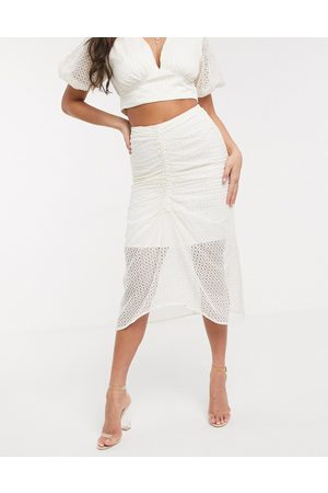 Significant Other Malia broderie midi skirt-Cream