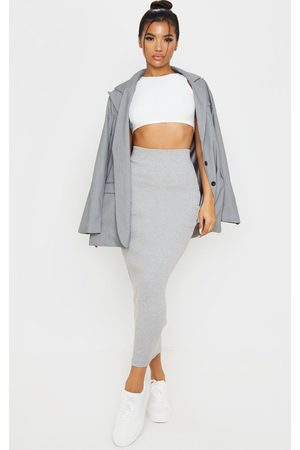 PRETTYLITTLETHING Women Maxi Skirts - Grey Heavy Rib Bodycon Maxi Skirt