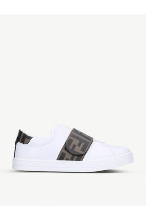 Fendi Kids Sneakers - Logo-print leather trainers