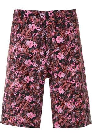AMIR SLAMA Foliage and floral print swim short