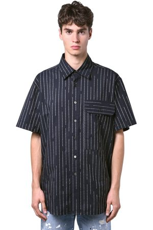 UNRAVEL Logo Pinstripe Cotton Short Sleeve Shirt