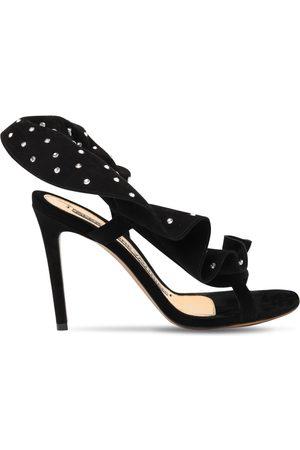 ALEXANDRE VAUTHIER 100mm Suede & Crystal Sandals