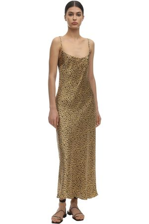 RIXO London Holly Matte Leopard Print Satin Dress