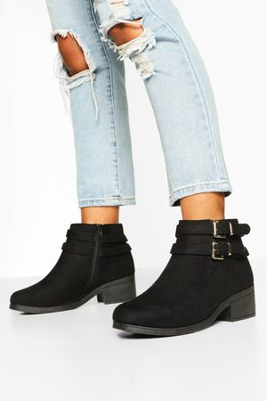 Boohoo Womens Wide Width Two Buckle Block Heel Chelsea Boots - - 5