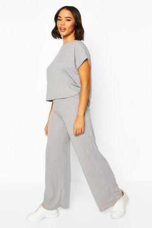 Boohoo Womens Rib Oversized T-Shirt + Wide Leg Two-Piece Set - - 2