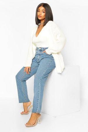 Boohoo Womens Plus Edge To Edge Waffle Knit Cardigan - - 12