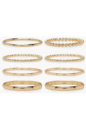 Boohoo Womens Plus Gold 8 Pack Basic Ring Set - - L/Xl