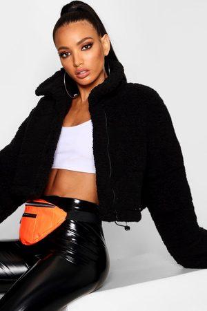 Boohoo Womens Crop Fleece Oversized Puffer Jacket - - 4
