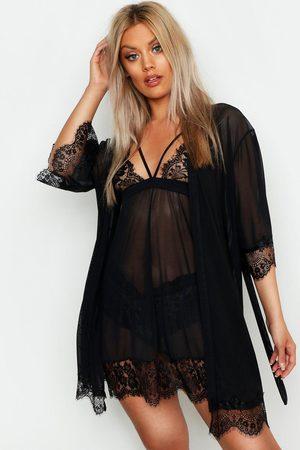 Boohoo Womens Plus Eyelash Lace & Mesh Robe - - 12