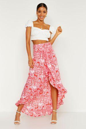 Boohoo Womens Paisley Bohemian Wrap Ruffle Maxi Skirt - - 2