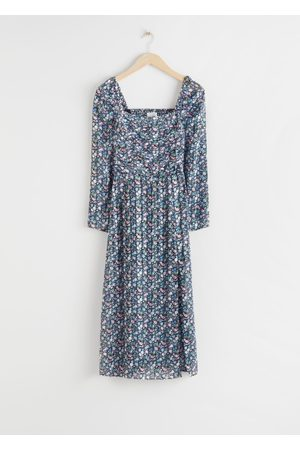 & OTHER STORIES Square Neck Floral Midi Dress